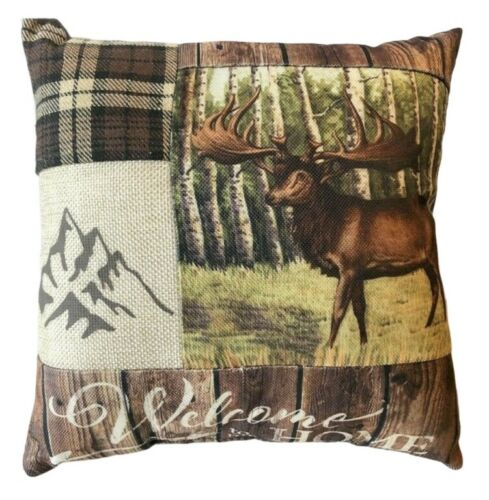"""Deer Shelf Pillow Welcome to My Home 10.5x10.5"""" Country Cabin Rustic Hunting"""