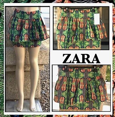 ZARA WOMEN TRF (L) BRIGHT RUFFLE TROPICAL MINI SKIRT wHIDDEN ZIPPER Sz L NEW