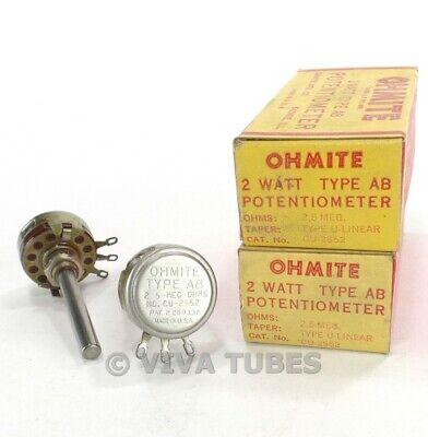 Nos Nib Vintage Lot Of 2 Ohmite Cu-2552 Type Ab Potentiometers 2w 2.5 Meg Ohm