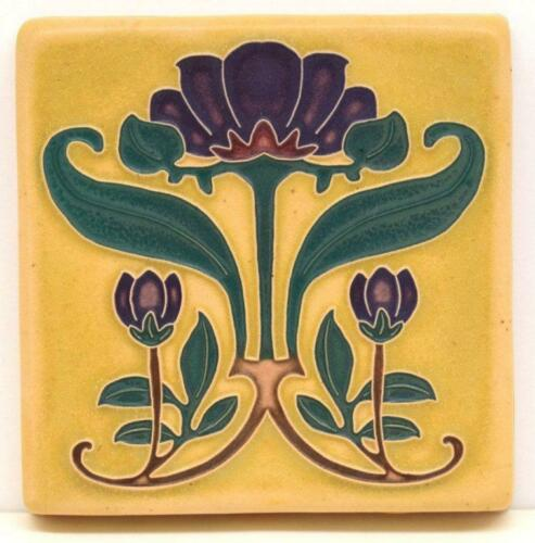 4x4 Arts & Crafts Plumeria Tile in Fawn by Arts & Craftsman Tileworks