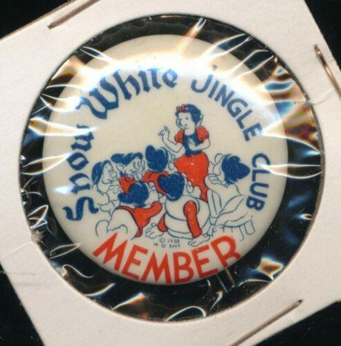 DISNEYANA-Pin Back Button-SNOW WHITE Jingle Club Member-SNW 103-(Kay Kamen)1938