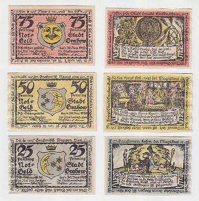 3 Banknoten Notgeld Stadt Grabow 1922 (115282)