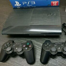 Ps3 Sony PlayStation 3 super slim 500 gb 2 controllers and 9 games