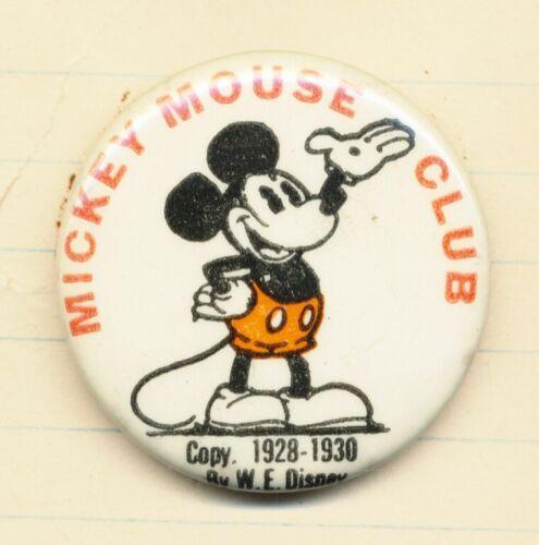 DISNEYANA-Pin Back Button-MICKEY MOUSE CLUB-(Phila.Badge Co) MKY-39-1928-30