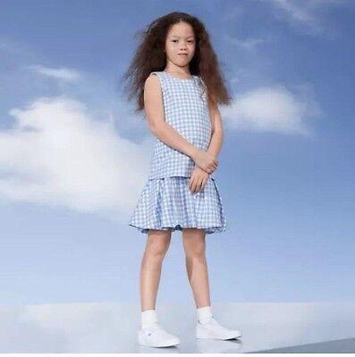 New Victoria Beckham for Target Girls Light Blue Gingham Drop Waist Dress SZ XL (Light Blue Dresses For Girls)