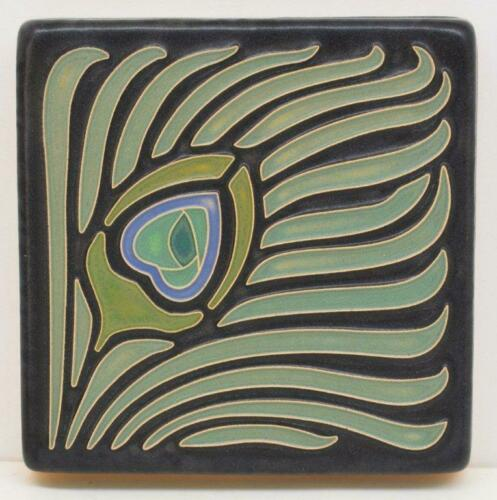 4x4 Arts & Crafts Peacock Feather Tile by Arts & Craftsman Tileworks F501