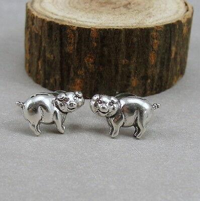 (Piggy Bank Post Earrings - 925 Sterling Silver - Pig Farm Animal Stud Earrings )