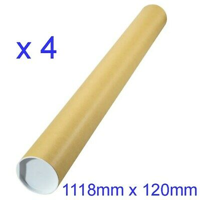 4 x Large Postal Tubes + Caps Manilla Artwork Poster Document 1118 X 102 N7GB#