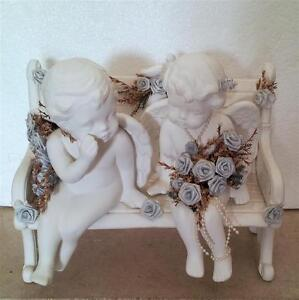 JUST MARRIED ANGELS COUPLE SITTING ON BENCH STATUE London Ontario image 5