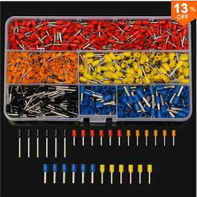 1020Pcs 1 to 2.3mm Wire Copper Crimp Connector Insulated Cord Pin End Terminals