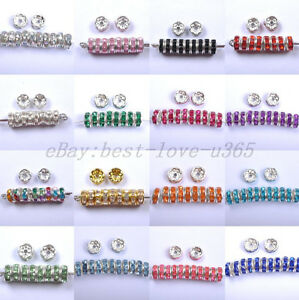 Wholesale-100pcs-Quality-Crystal-Rhinestone-SILVER-PLATED-Rondelle-Spacer-BEADS