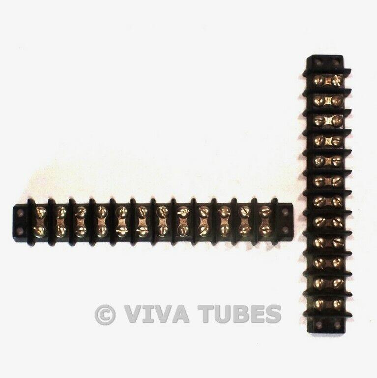 Vintage Lot of 2 Jones Black 12-Position Terminal Strips