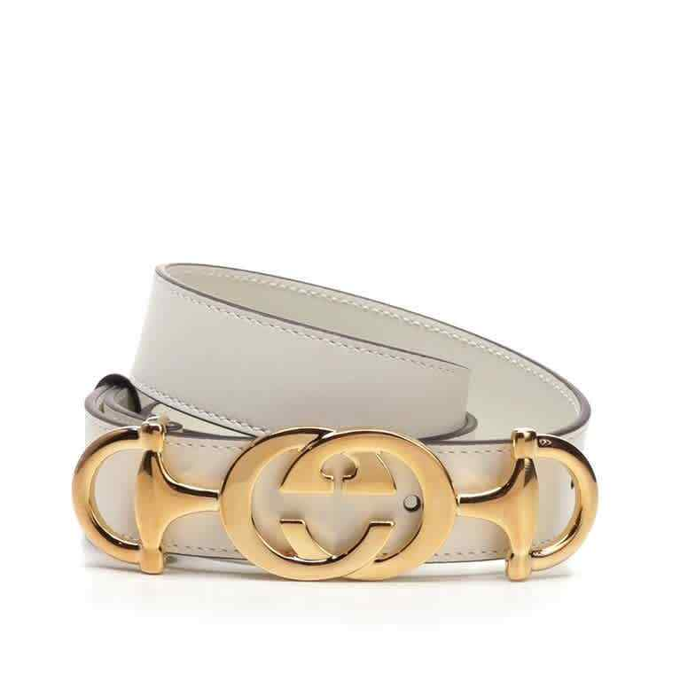 Gucci White Leather Belt With Interlocking G Horsebit