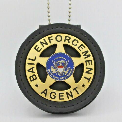 Bail Enforcement Agent badge   Leather Holder Belt Clip 2 1/4 inch GOLD PLATED