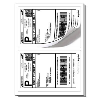 1000 Rounded Corner Shipping Label Sheets 2 Labels Per 2000 Total Labels