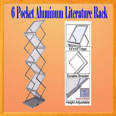 6 Pocket Literature Magazine Catalog Brochure Rack Holder Portable Aluminum