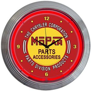 Neon-Clock-sign-Mopar-Red-Parts-Chrysler-Wall-lamp-art-Man-cave-garage