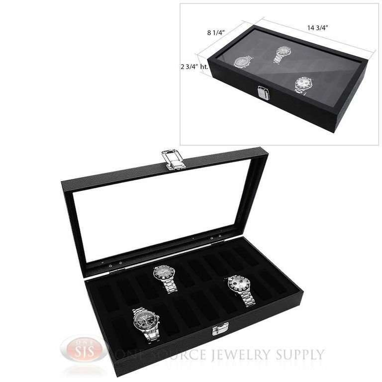 Black Wooden Glass Top Display Storage Watch Case w/ 18 Removable Holders