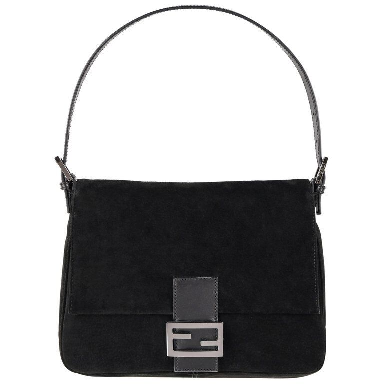 "FENDI ""Forever Mama"" Black Suede Leather Flap Top"