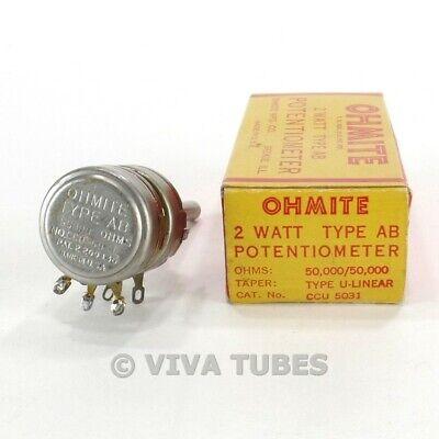 Nos Nib Vintage Ohmite Ccu-5031 Type Ab Dual 2 Way Pol Potentiometers 2w 50k Ohm
