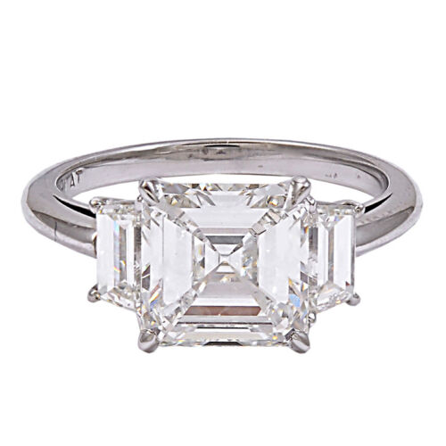 18K Diamond Engagement Ring GIA Certified 3.80 Carat Asscher and Trapezoid Cu...