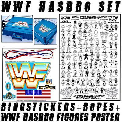 # WWF SET | HASBRO FIGURES COLLECTORS POSTER & RING STICKERS + ROPES WRESTLING #