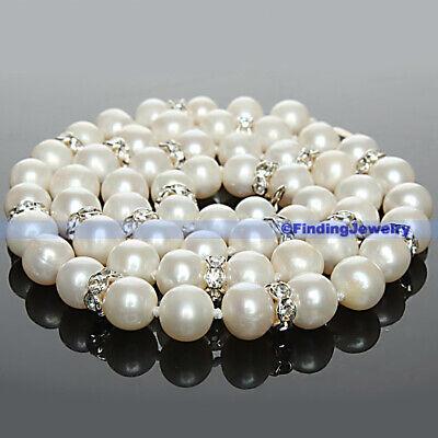 - Natural White Freshwater Pearl & Swarovski Crystal Necklace 17