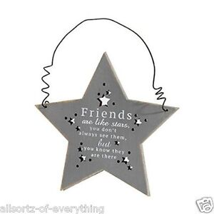 Friends are Like Stars Wooden Hanging Plaque Gift Rustic Mirror Mirror Range