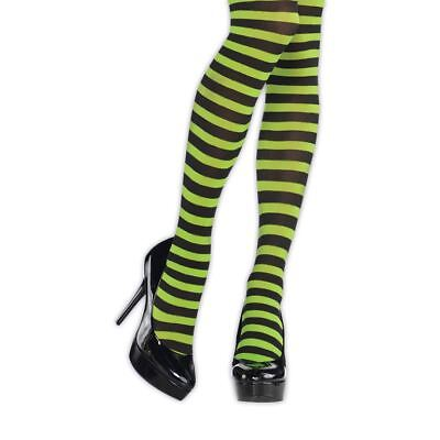 Ladies Green Black Striped Tights Witch Halloween Hosiery Costume Accessory - Green Black Striped Tights