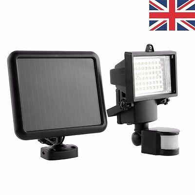 Outdoor Solar Power Motion Sensor Garden Floodlight 60 LED PIR Security Light UK