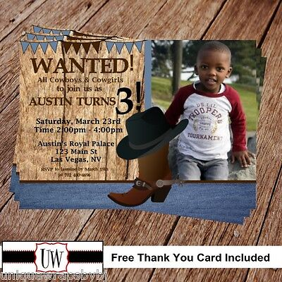 Printable Photo Cowboy Birthday Invitation, Wanted party supplies DIY Country - Cowboy Birthday Party Supplies