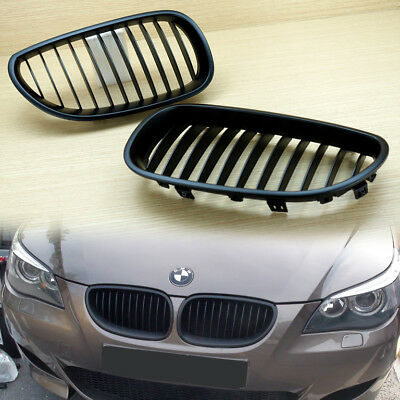 - BMW E60/E61 5-Series 4Dr FRONT GRILLS GRILLE KIDNEY MATTE BLACK & Gift USB CABLE