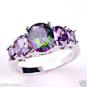 Unusual silver mystic topaz and amethyst style fashion ring in size Q