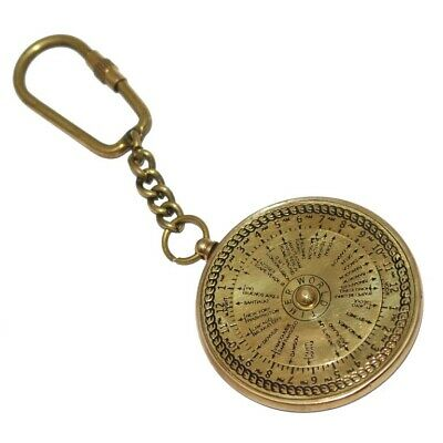 New World Time Clock Brass Key Ring Keychain Key Fob Key Nautical