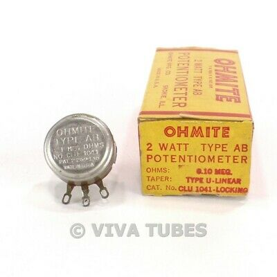 Nos Nib Vintage Ohmite Clu-1041-locking Potentiometer 2 Watts 0.1meg Ohm 500k