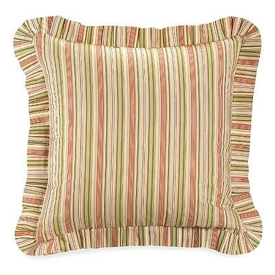 PINK SAGE GREEN STRIPE EURO SHAM : GARDEN DREAM COTTAGE STRIPES PILLOW COVER