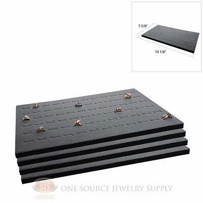 4 Gray Ring Display Pads Holds 72 Slot Rings Tray Or Case Jewelry Insert