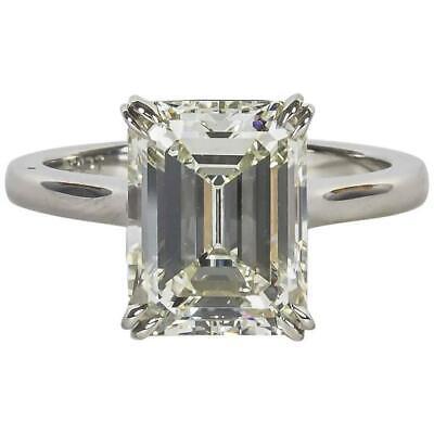 Elegant 4.26 Carat GIA Cert Emerald Cut Diamond Solitaire Engagement Ring