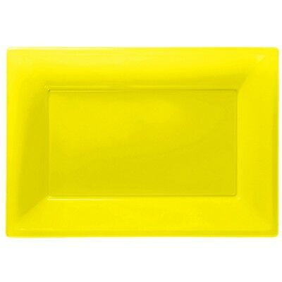 Plastic Buffet Platters (Yellow Plastic Serving Platters Tray Party Buffet Food Celebration BBQ Wedding)