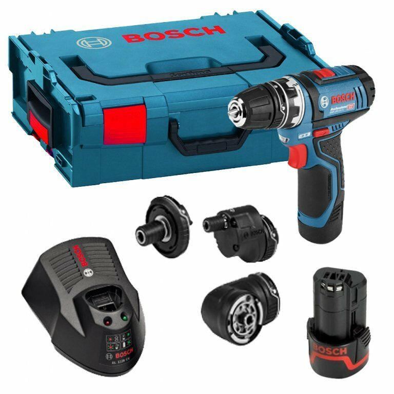 bosch gsr 12 v 15 fc professional flexi click drill driver set ebay. Black Bedroom Furniture Sets. Home Design Ideas