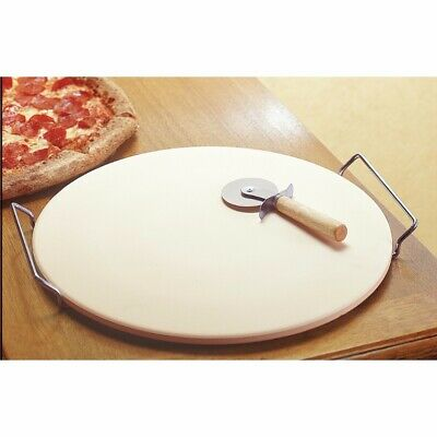 Ceramic Pizza Stone with Stainless Steel Rack & Pizza Wheel 15