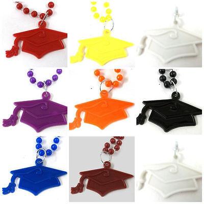 Mortarboard Cap Tassel Graduation Mardi Gras Bead Necklace Choose School Color - Beaded Graduation Caps
