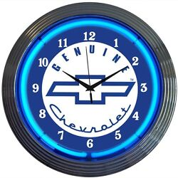 Chevrolet Neon clock sign Genuine Chevy Sevice classic Auto Car Garage wall lamp