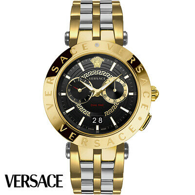 Versace VEBV00519 V-Race gold silver black Stainless Steel Men's Watch NEW