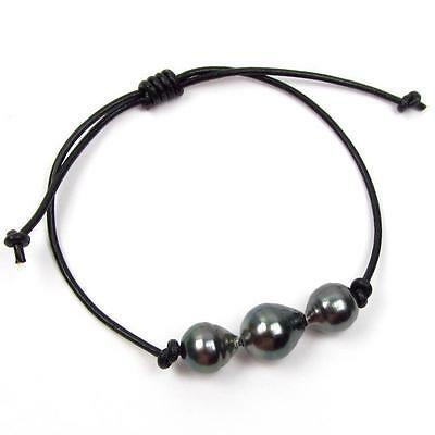 Authentic Tahitian Black Pearl Genuine Leather Cord Adjustable Bracelet