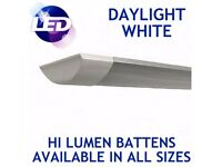 LED Linear Flat Batten Tube Light Fitting Ceiling Lamp Daylight Cool White Indoor / Outdoor Use