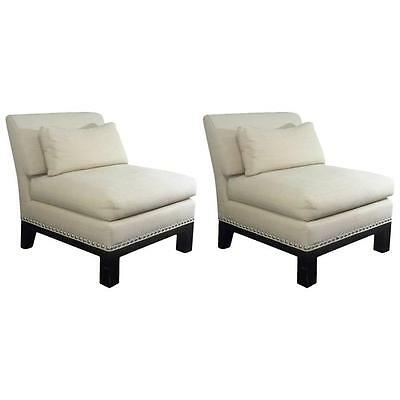 Chic Designer 'Onassis' Pair of Nailhead Trimmed Lounge Chairs, 1980s