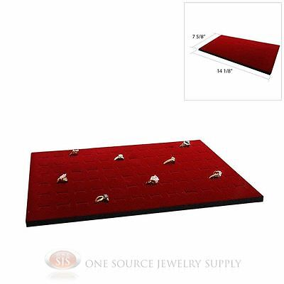Burgundy Ring Display Pad Holds 72 Slot Rings Tray Or Case Jewelry Insert