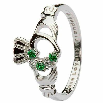 Women Claddagh Green & Silver Cubic Zirconia Ring Heart Crown Set Irish -