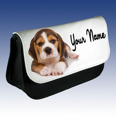 GIRLS LADIES Personalised BEAGLE PUPPY DOG Pencil Case MAKE UP BAG DS CASE